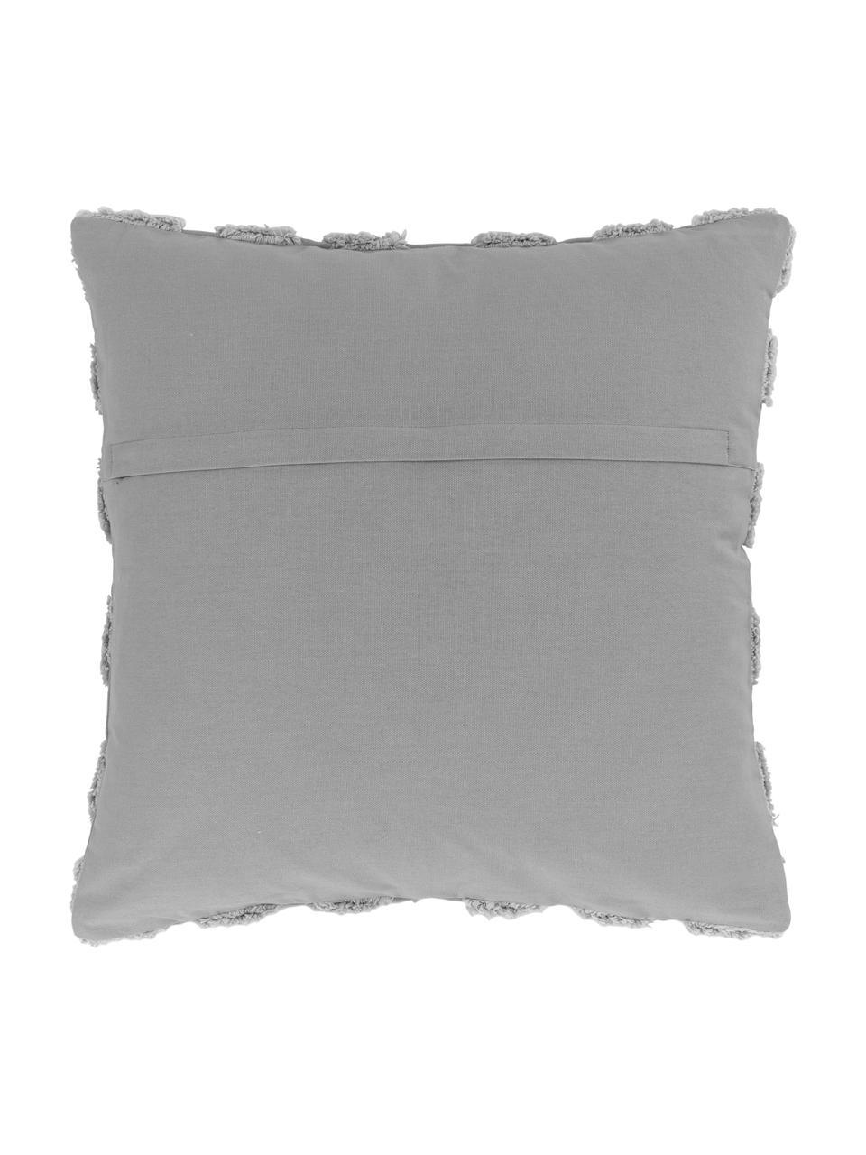 Kissenhülle Kara mit getuftetem Muster, 100% Baumwolle, Grau, 50 x 50 cm