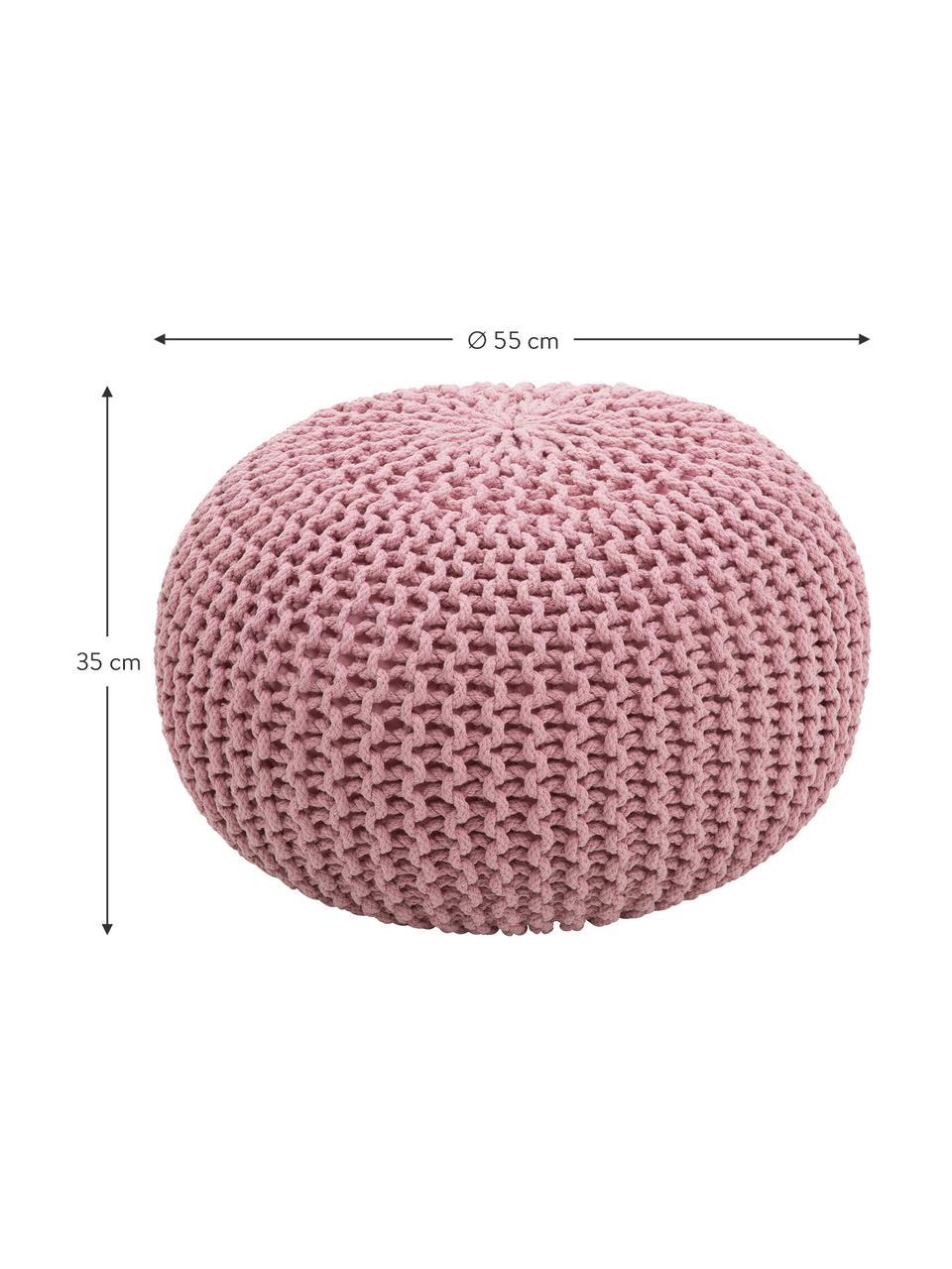 Handgemaakte poef Dori, Bekleding: 100% katoen, Roze, Ø 55 x H 35 cm