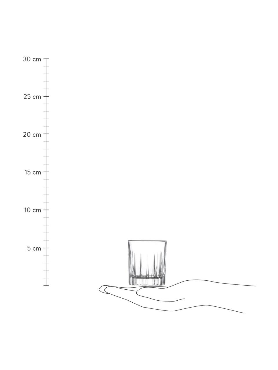 Borrelglaasjes Timeless met groefreliëf, 6 stuks, Luxion kristalglas, Transparant, Ø 5 x H 6 cm