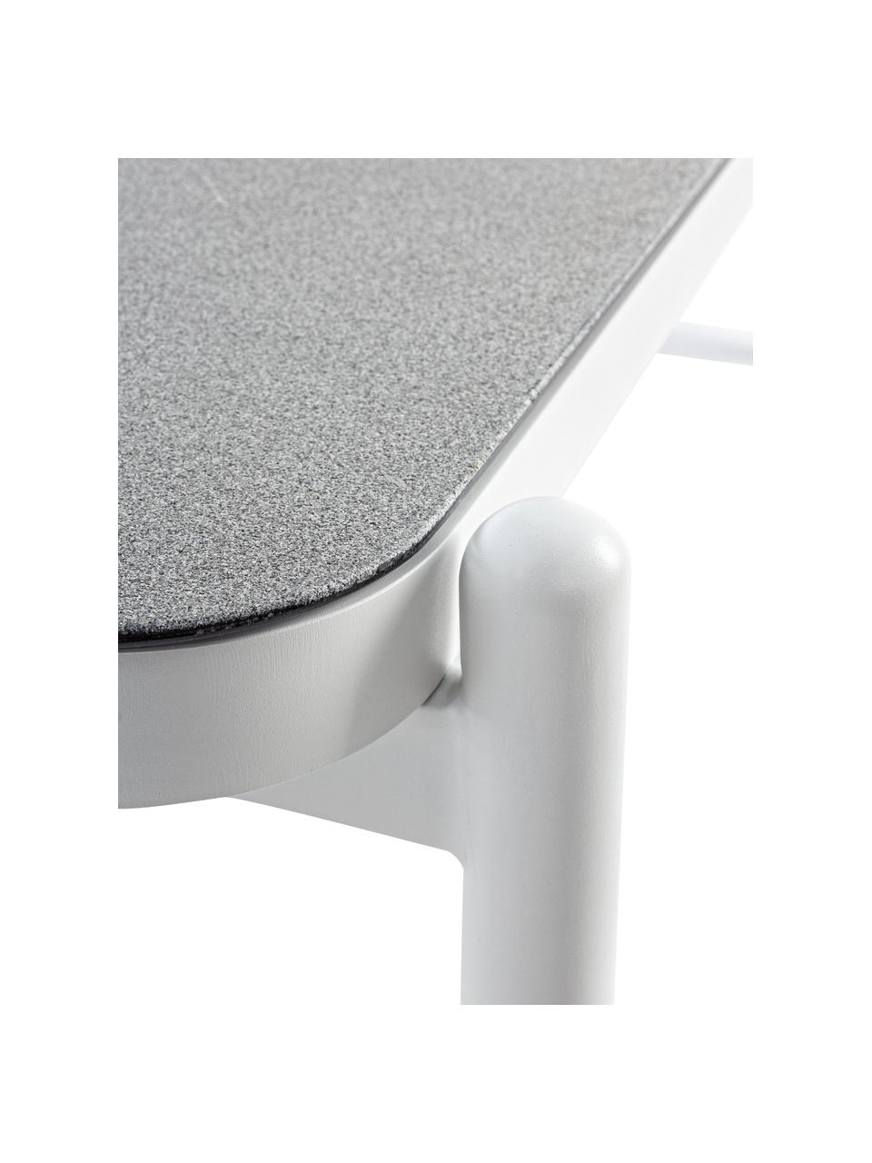 Garten-Couchtisch Florencia mit Glasplatte, Gestell: Aluminium, pulverbeschich, Tischplatte: Glas, beschichtet, Grau, Weiß, B 120 x T 75 cm