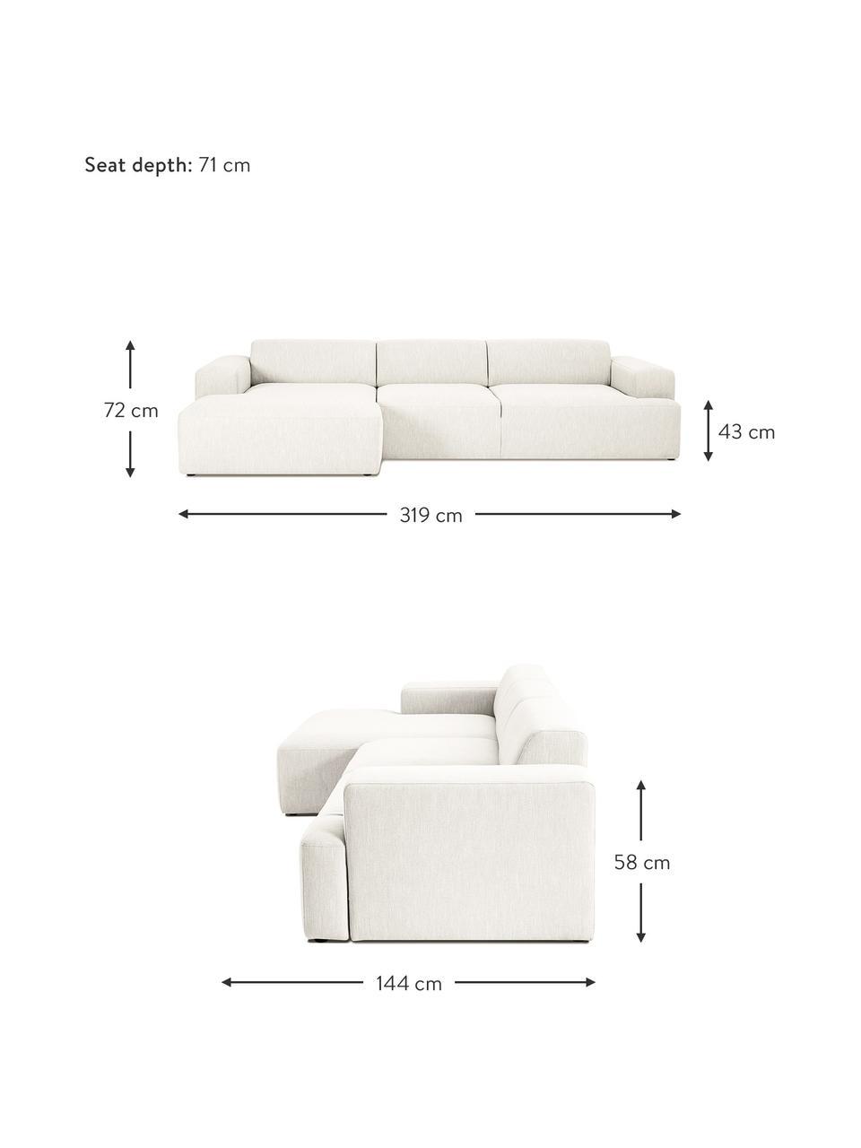 Canapé d'angle 4places beige Melva, Tissu beige