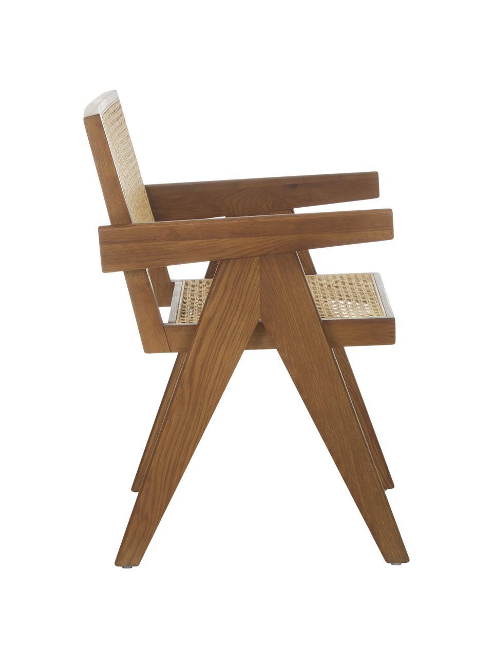 Armstoel Sissi met Weens vlechtwerk, Frame: massief eikenhout, Zitvlak: rotan, Eikenhoutkleurig, 52 x 58 cm