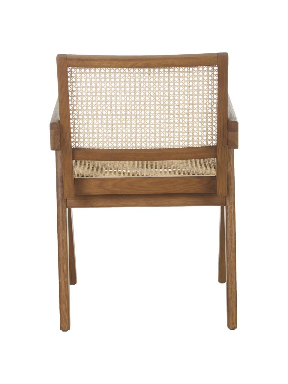 Sedia con braccioli e intreccio viennese Sissi, Struttura: legno di quercia massicci, Seduta: rattan, Legno di quercia, Larg. 52 x Prof. 58 cm