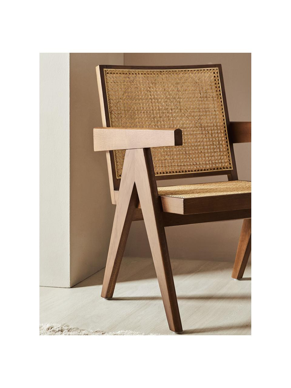 Krzesło z podłokietnikami z plecionką wiedeńską Sissi, Stelaż: lite drewno dębowe, Drewno dębowe, S 52 x G 58 cm