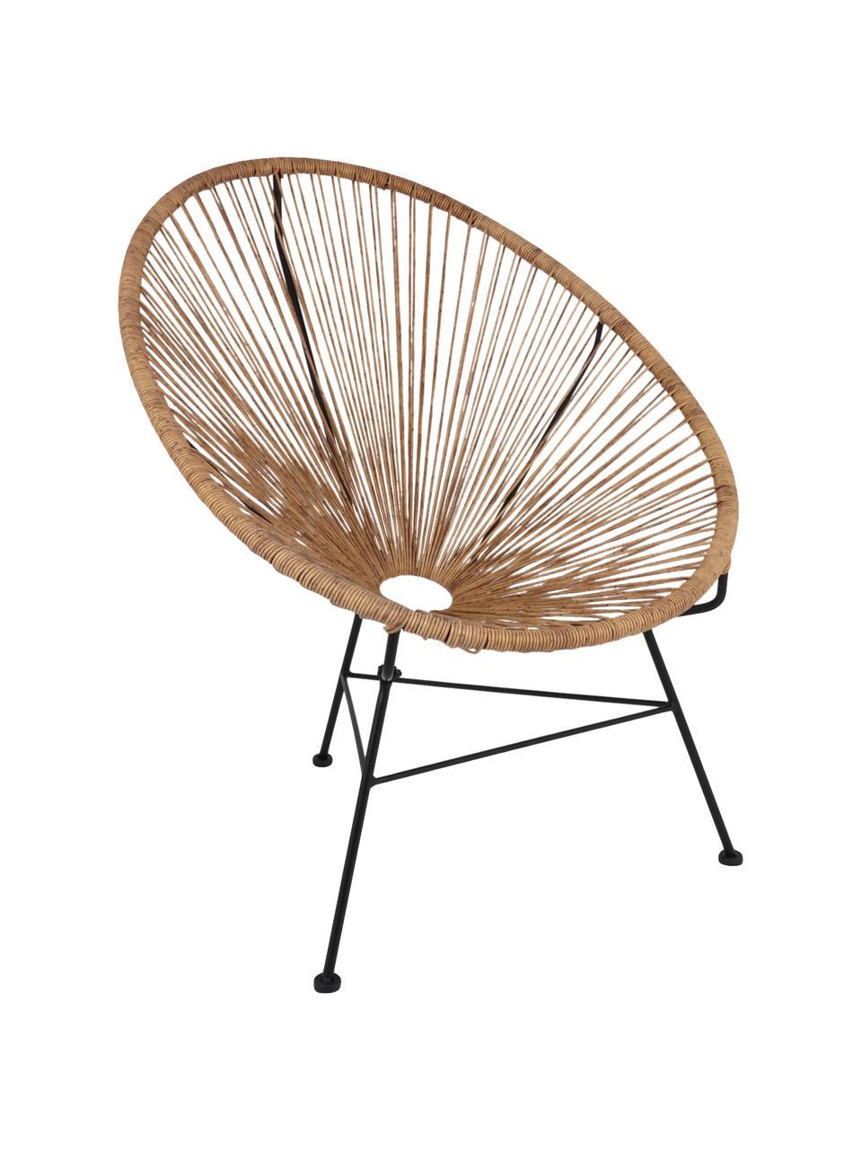 Sedia a poltrona intrecciata Bahia, Seduta: materiale sintetico, Struttura: metallo verniciato a polv, Beige, Larg. 81 x Prof. 73 cm