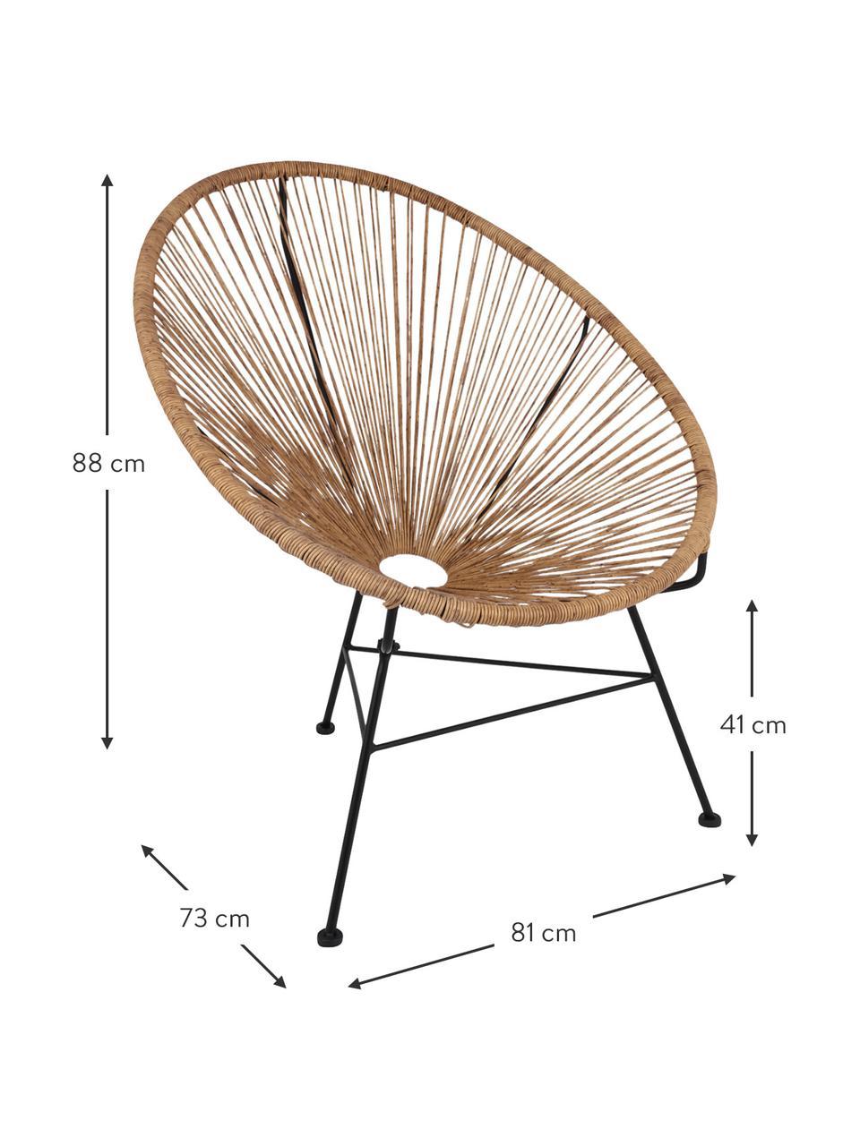 Fotel wypoczynkowy ze splotu z tworzywa sztucznego Bahia, Beżowy, S 81 x G 73 cm
