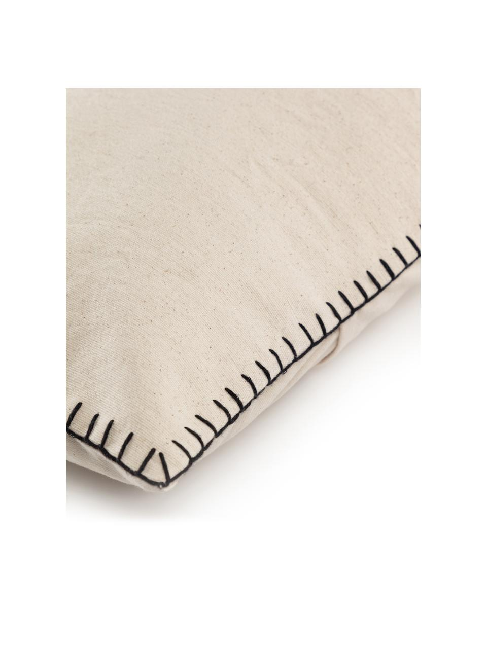 Baumwoll-Kissenhülle Anahi mit Steppnaht, 100% Baumwolle, Beige, 45 x 45 cm