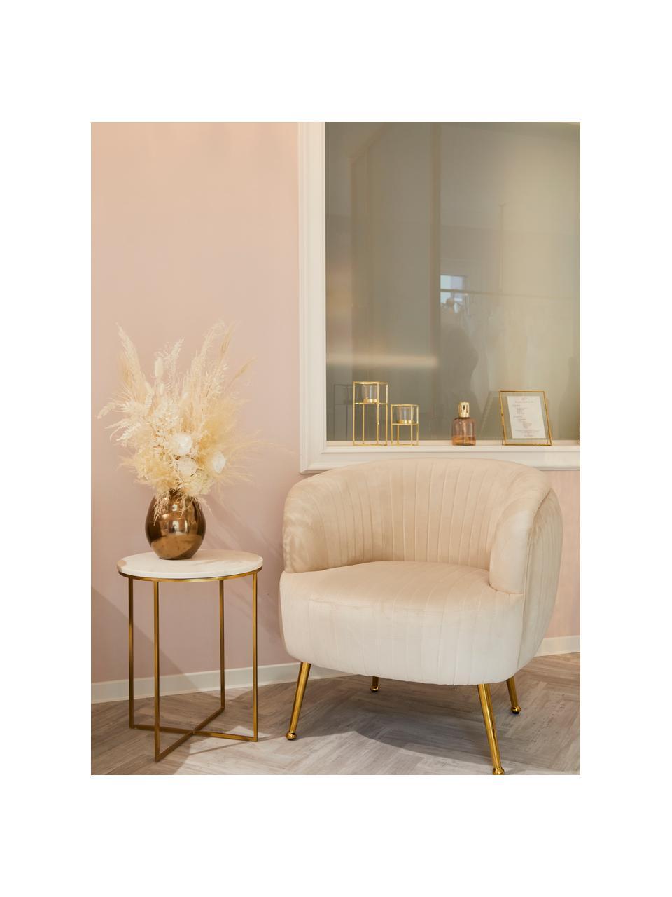 Tavolino rotondo con piano in marmo Alys, Struttura: metallo verniciato a polv, Piano: marmo bianco-grigio Struttura: dorato lucido, Ø 40 x Alt. 50 cm