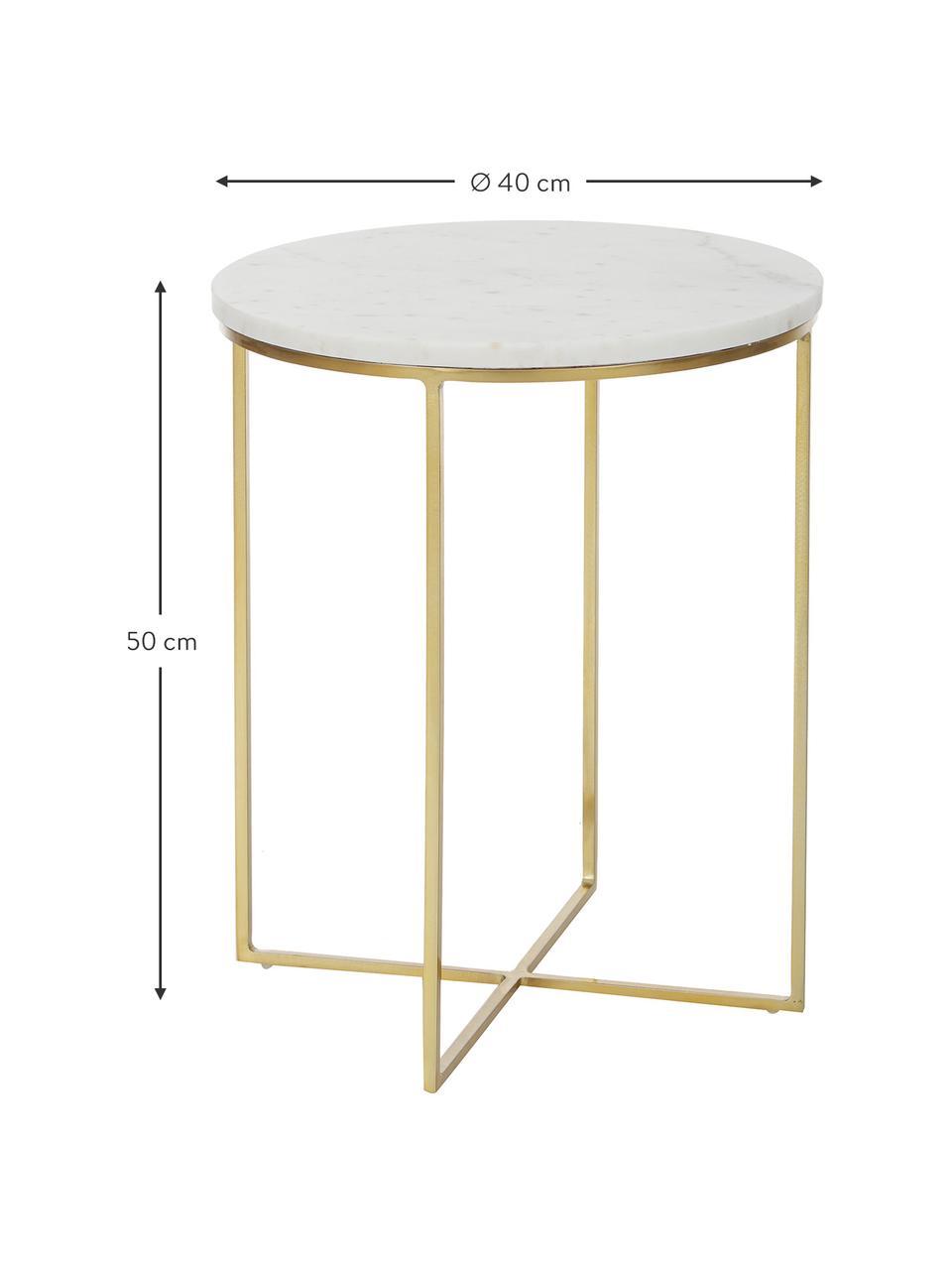 Runder Marmor-Beistelltisch Alys, Tischplatte: Marmor, Gestell: Metall, pulverbeschichtet, Weißer Marmor, Goldfarben, Ø 40 x H 50 cm