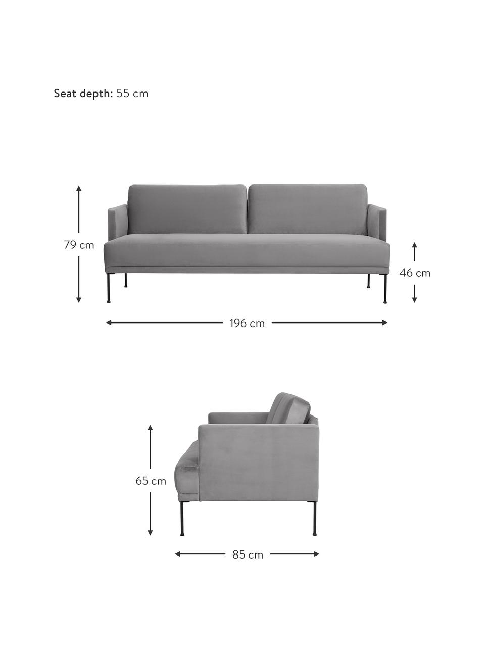 Samt-Sofa Fluente (3-Sitzer) in Hellgrau mit Metall-Füßen, Bezug: Samt (Hochwertiger Polyes, Gestell: Massives Kiefernholz, Füße: Metall, pulverbeschichtet, Samt Hellgrau, B 196 x T 85 cm