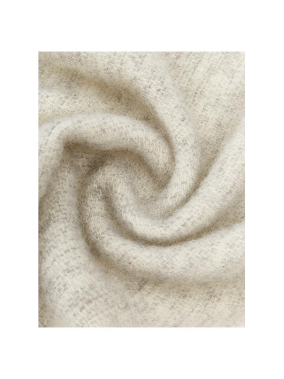 Wendewolldecke Tirol in Hellgrau/Weiß mit Fransen, 100% Wolle, Hellgrau, Weiß, 140 x 200 cm
