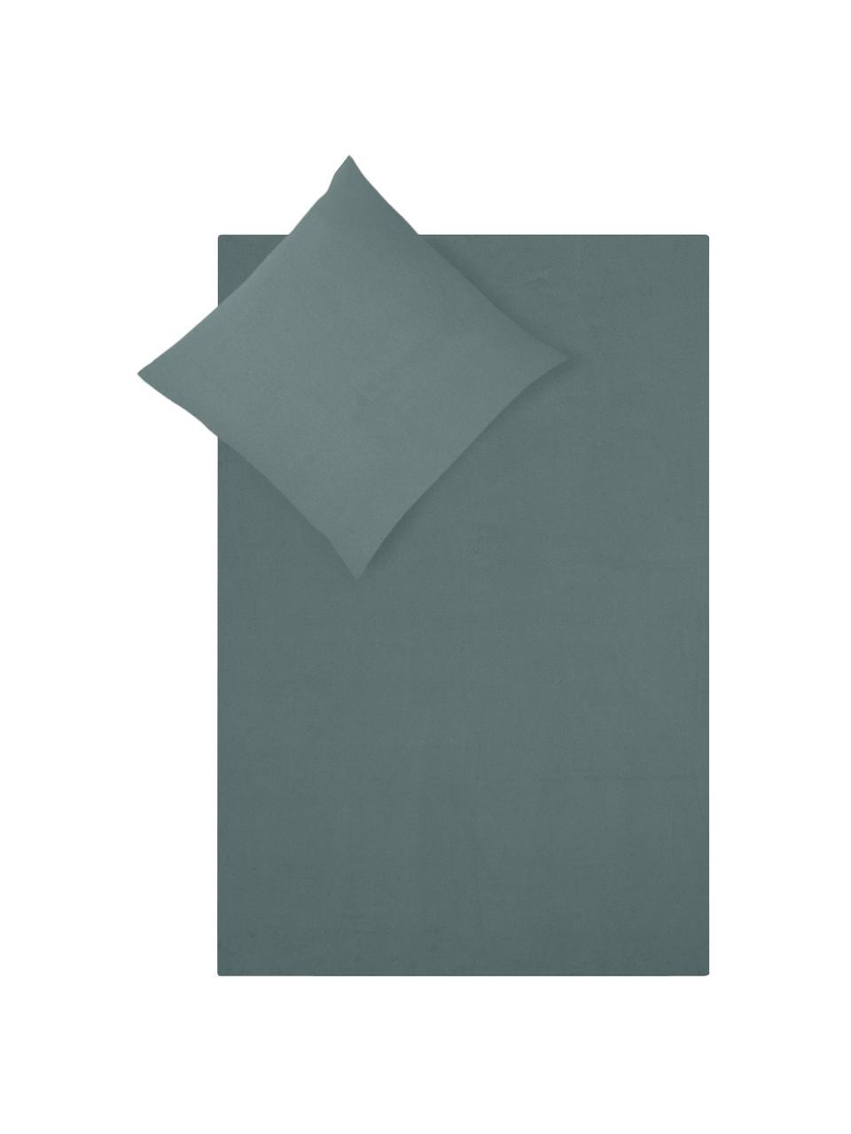 Pościel z flaneli Biba, Ciemny zielony, 240 x 220 cm + 2 poduszki 80 x 80 cm