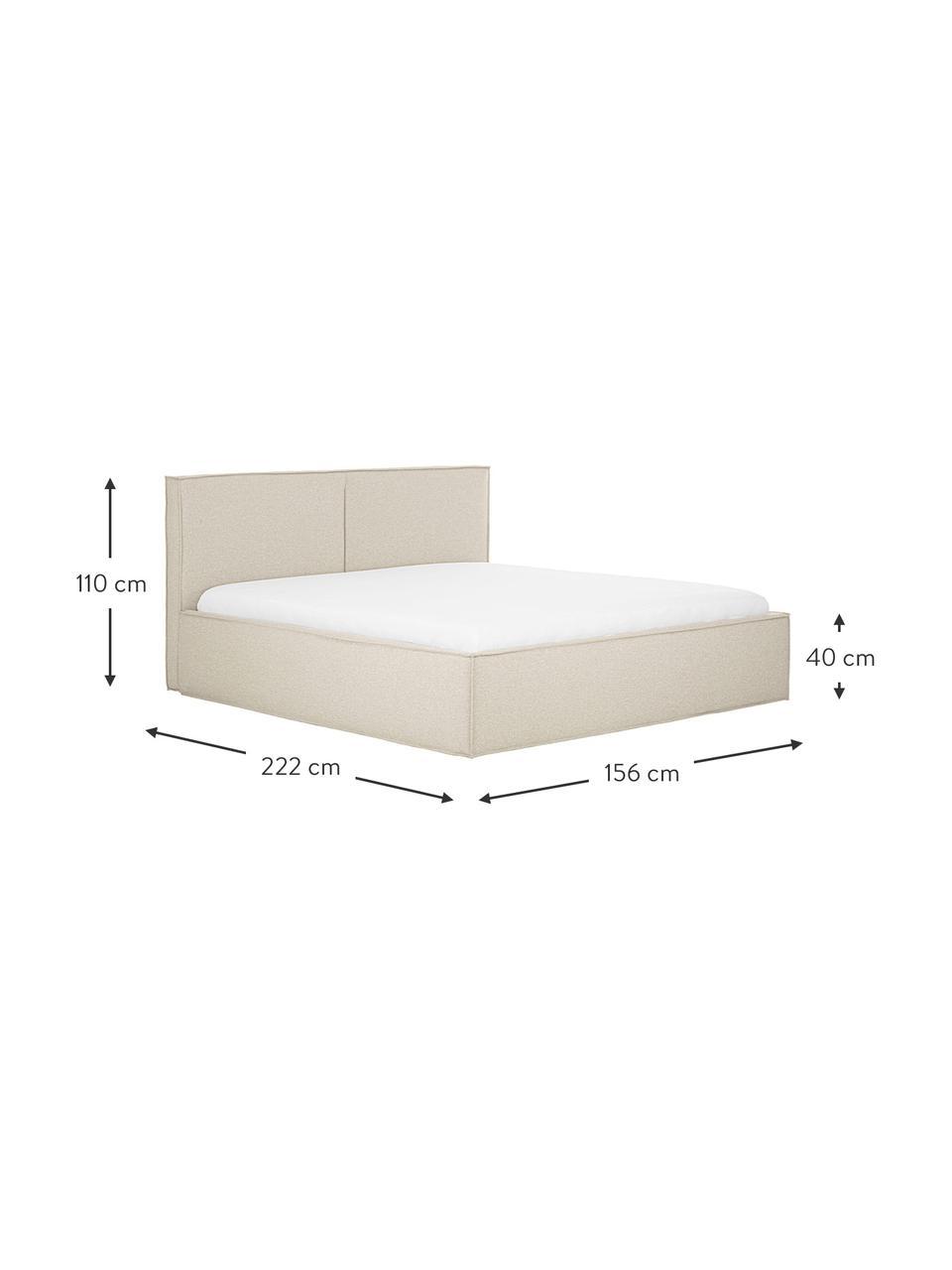 Gestoffeerd bed Dream met opbergruimte in donkere beige, Frame: massief grenenhout en pla, Bekleding: polyester (gestructureerd, Stof taupe, 180 x 200 cm