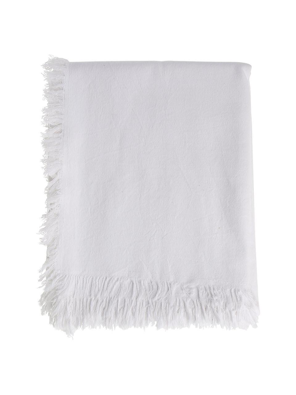 Obrus z bawełny z frędzlami Nalia, 100% bawełna, Biały, Dla 4-6 osób (S 160 x D 160 cm)