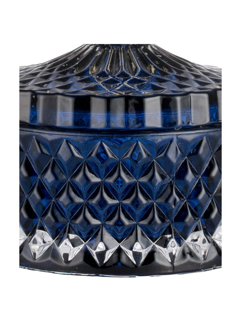 Aufbewahrungsdose Miya, Glas, Blau, Goldfarben, Ø 9 x H 11 cm
