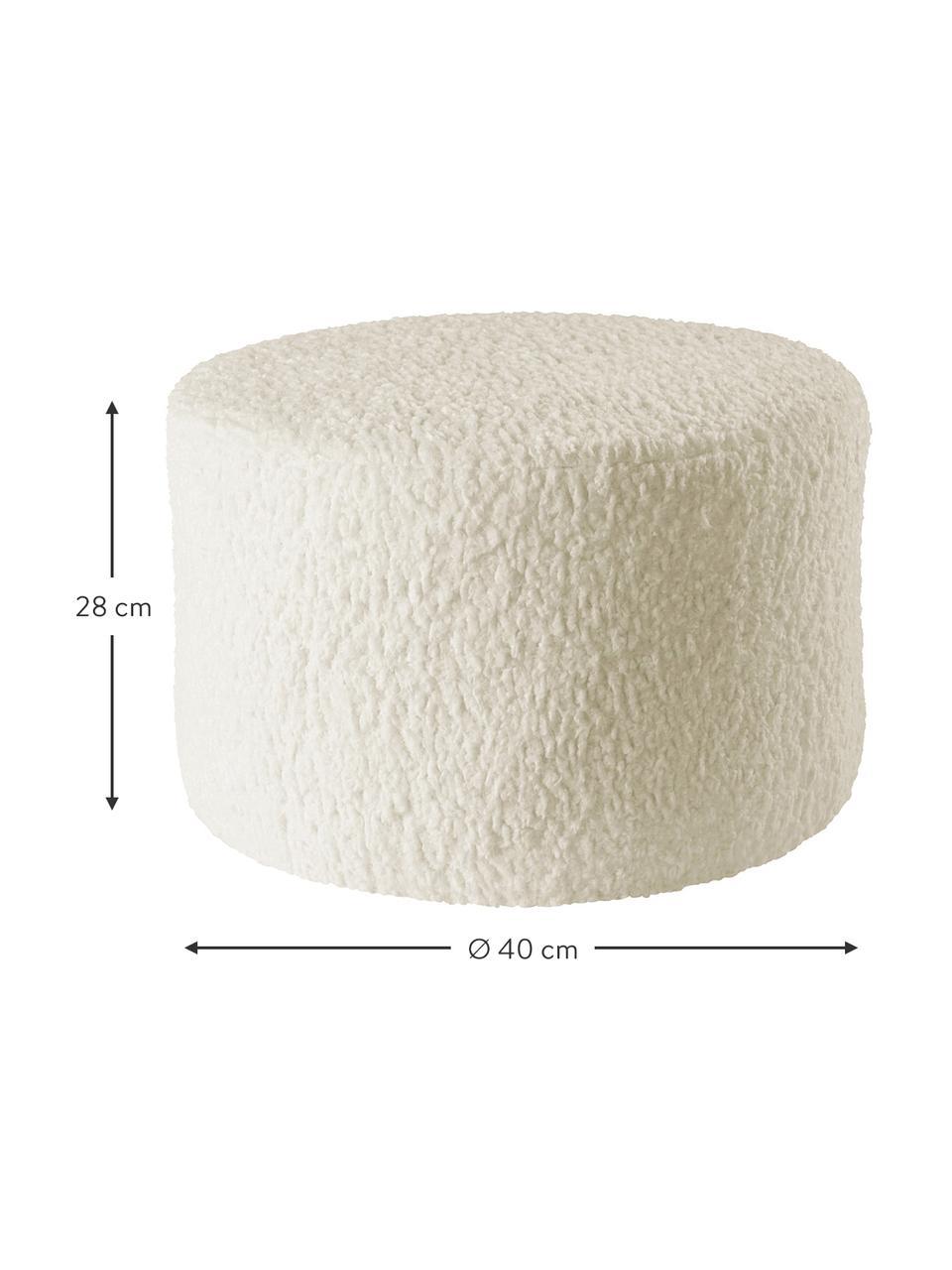 Kinder-Pouf Marella, Bezug: Polyester, Gestell: Holz, Cremeweiß, Ø 40 x H 28 cm