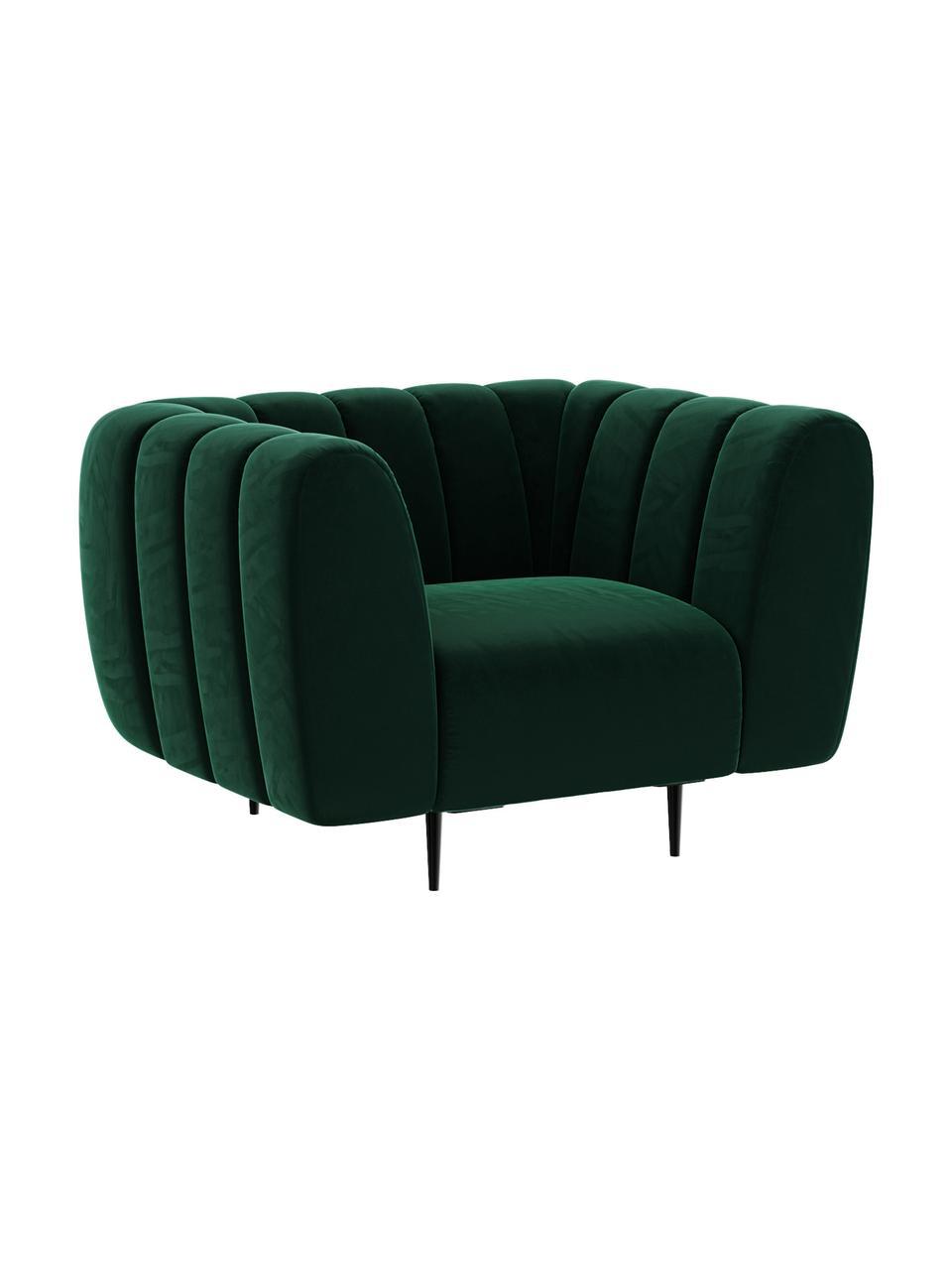 Fotel z aksamitu Shel, Tapicerka: 100% aksamit poliestrowy , Stelaż: twarde drewno, miękkie dr, Nogi: metal powlekany, Ciemnyzielony, S 110 x G 95 cm
