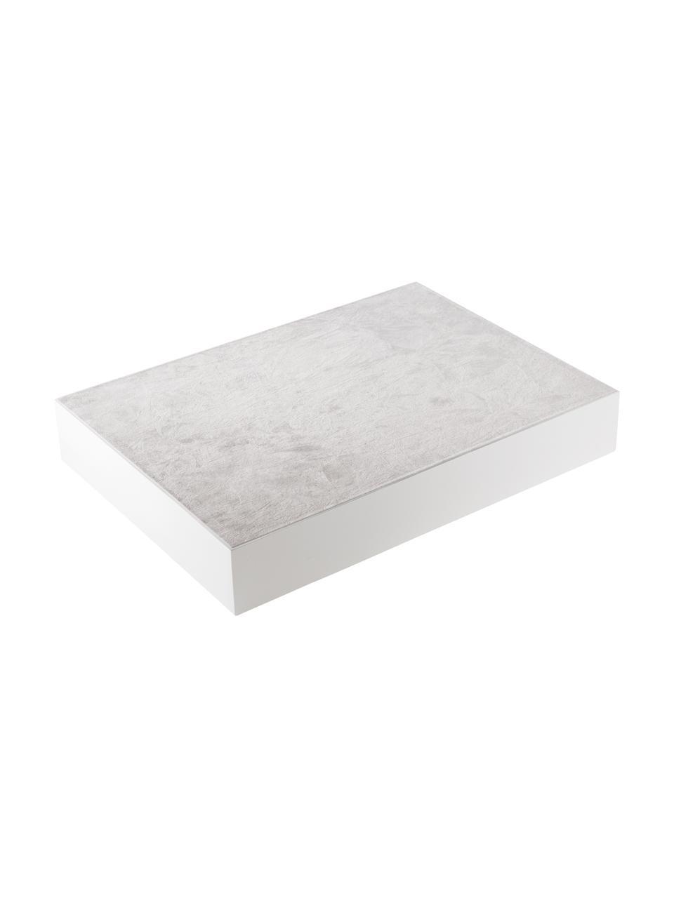 Hochglanz-Tablett Tracy in Weiß, verschiedene Größen, Tablett: Mitteldichte Holzfaserpla, Unterseite: Samtbezug, Weiß, L 50 cm