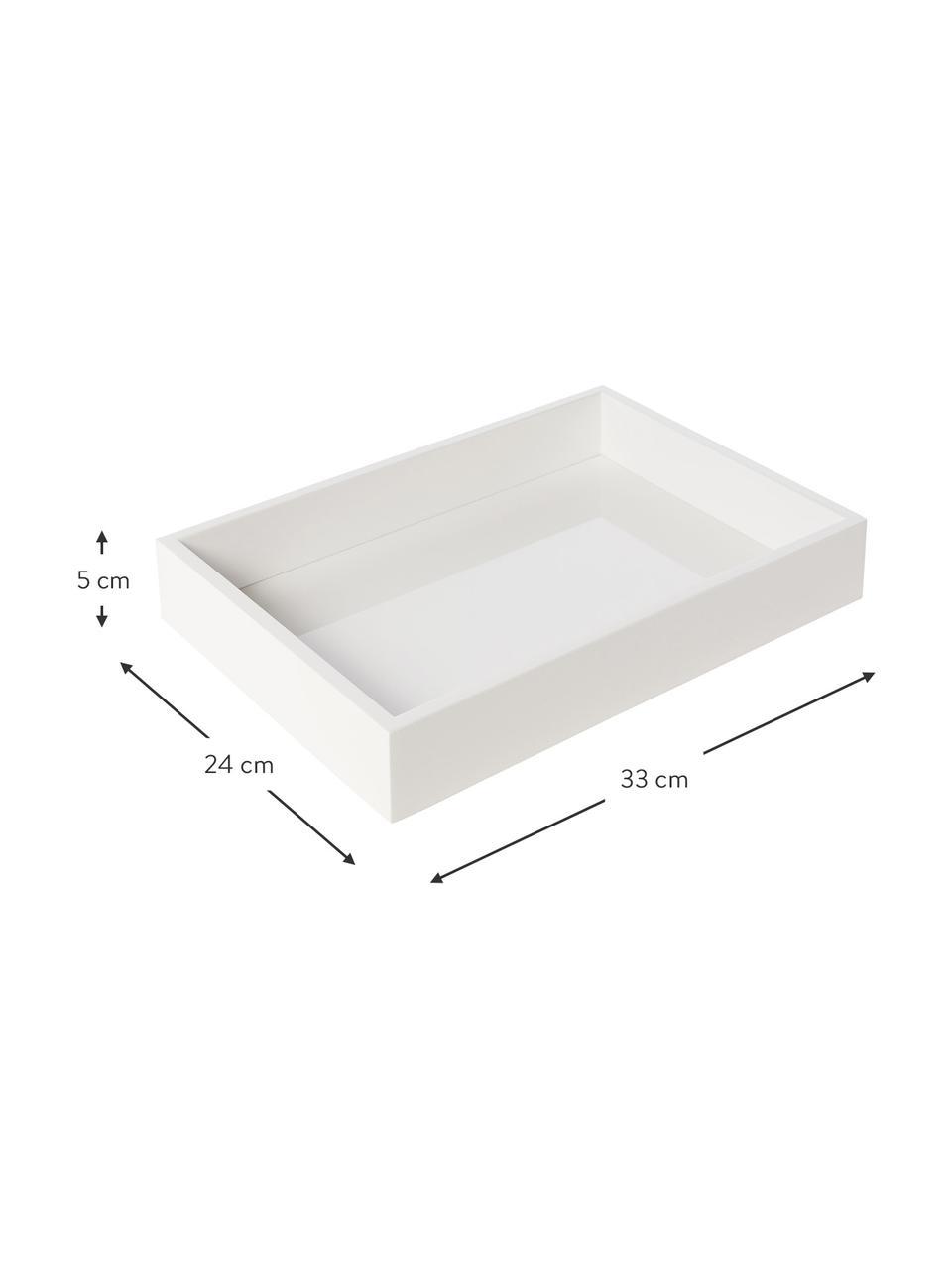 Hochglanz-Tablett Hayley in Weiß, verschiedene Größen, Tablett: Mitteldichte Holzfaserpla, Unterseite: Samtbezug, Weiß, L 50 cm
