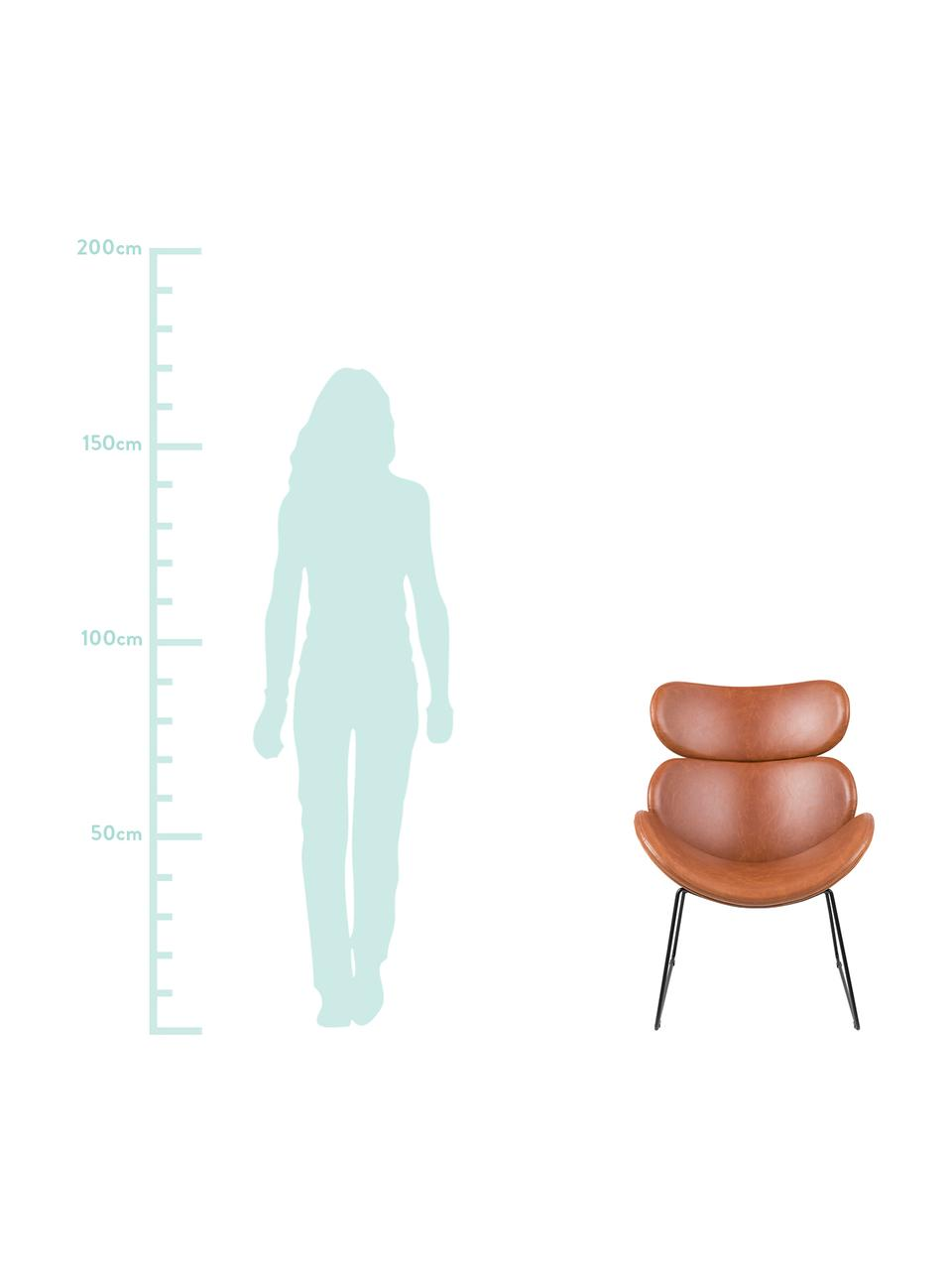 Sedia a poltrona moderna in similpelle Cazar, Rivestimento: similpelle (poliuretano), Struttura: metallo verniciato a polv, Cognac, nero, Larg. 69 x Prof. 79 cm