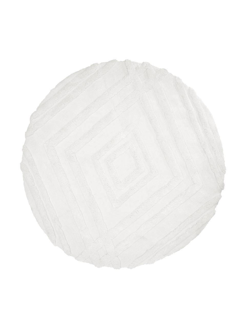 Tapis rond shaggy moelleux ethnique Magda, Blanc crème