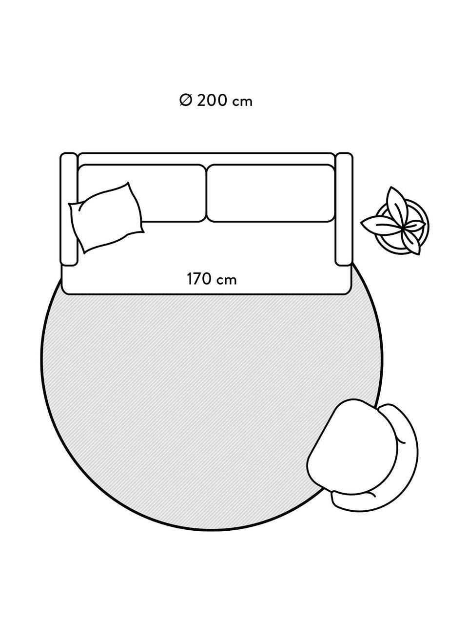 Runder flauschiger Hochflorteppich Magda mit erhabener Hoch-Tief-Struktur, Flor: 100% Polyester (Mikrofase, Beige, Ø 200 cm (Größe L)