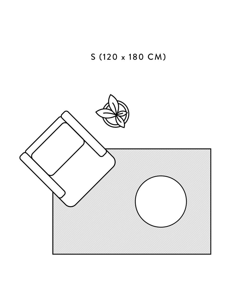 Handgewebter Boho-Baumwollteppich Lines mit Fransen, 100% Baumwolle, Beige, Schwarz, B 120 x L 180 cm (Größe S)