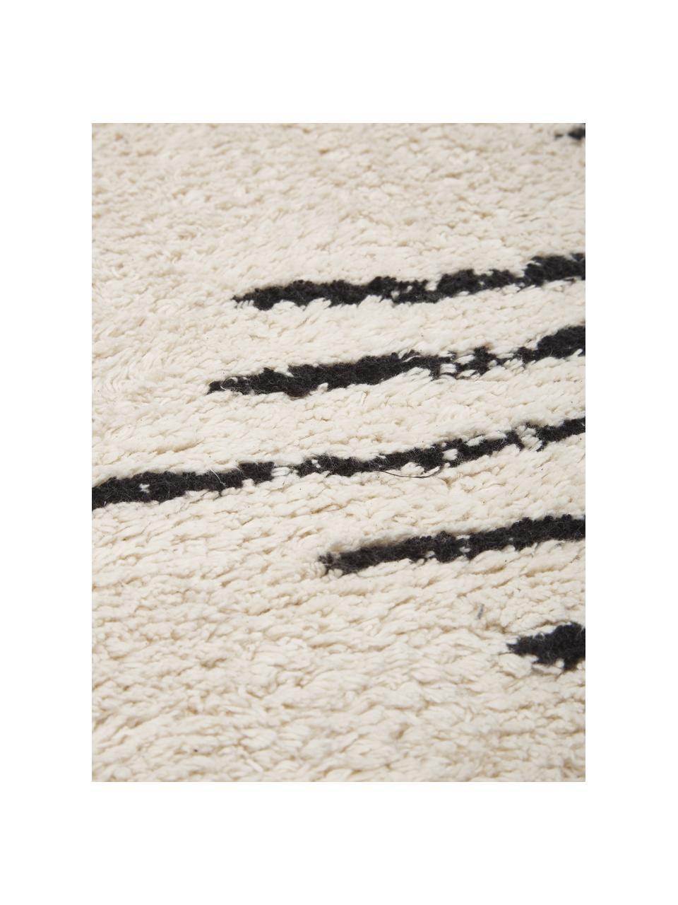 Ręcznie tuftowany dywan z bawełny w stylu boho z frędzlami Lines, 100% bawełna, Beżowy, czarny, S 120 x D 180 cm (Rozmiar S)