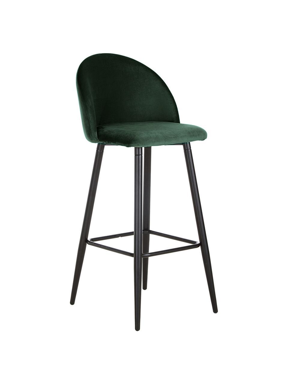 Sedia da bar in velluto verde scuro Amy, Rivestimento: velluto (poliestere) Il r, Gambe: metallo verniciato a polv, Verde scuro, Larg. 45 x Alt. 103 cm