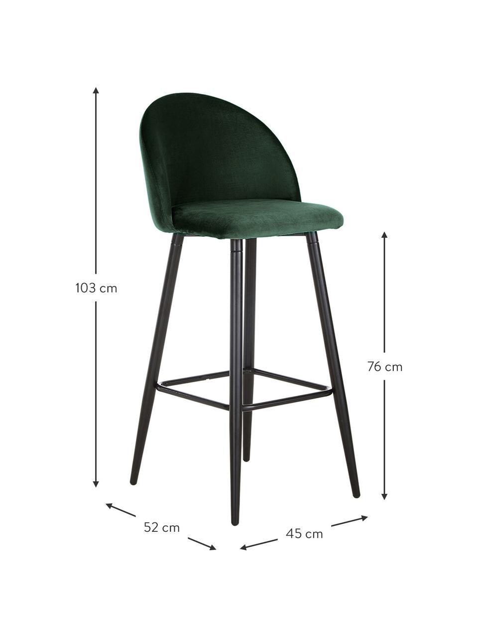 Samt-Barstuhl Amy in Dunkelgrün, Bezug: Samt (Polyester) Der hoch, Beine: Metall, pulverbeschichtet, Samt Dunkelgrün, 45 x 103 cm