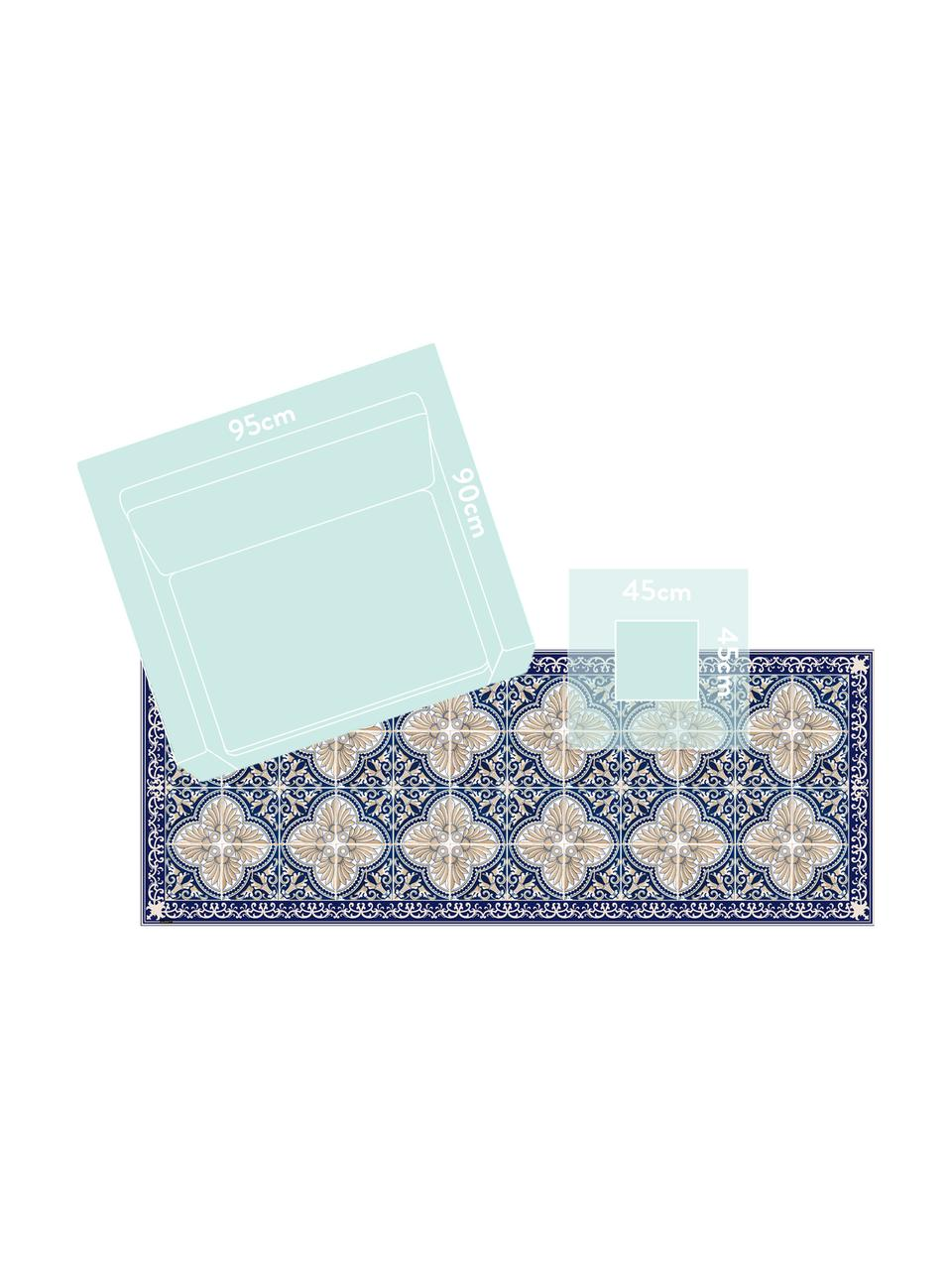 Vlakke vinyl vloermat Luis in blauw / beige, antislip, Recyclebaar vinyl, Donkerblauw, beige, 68 x 180 cm