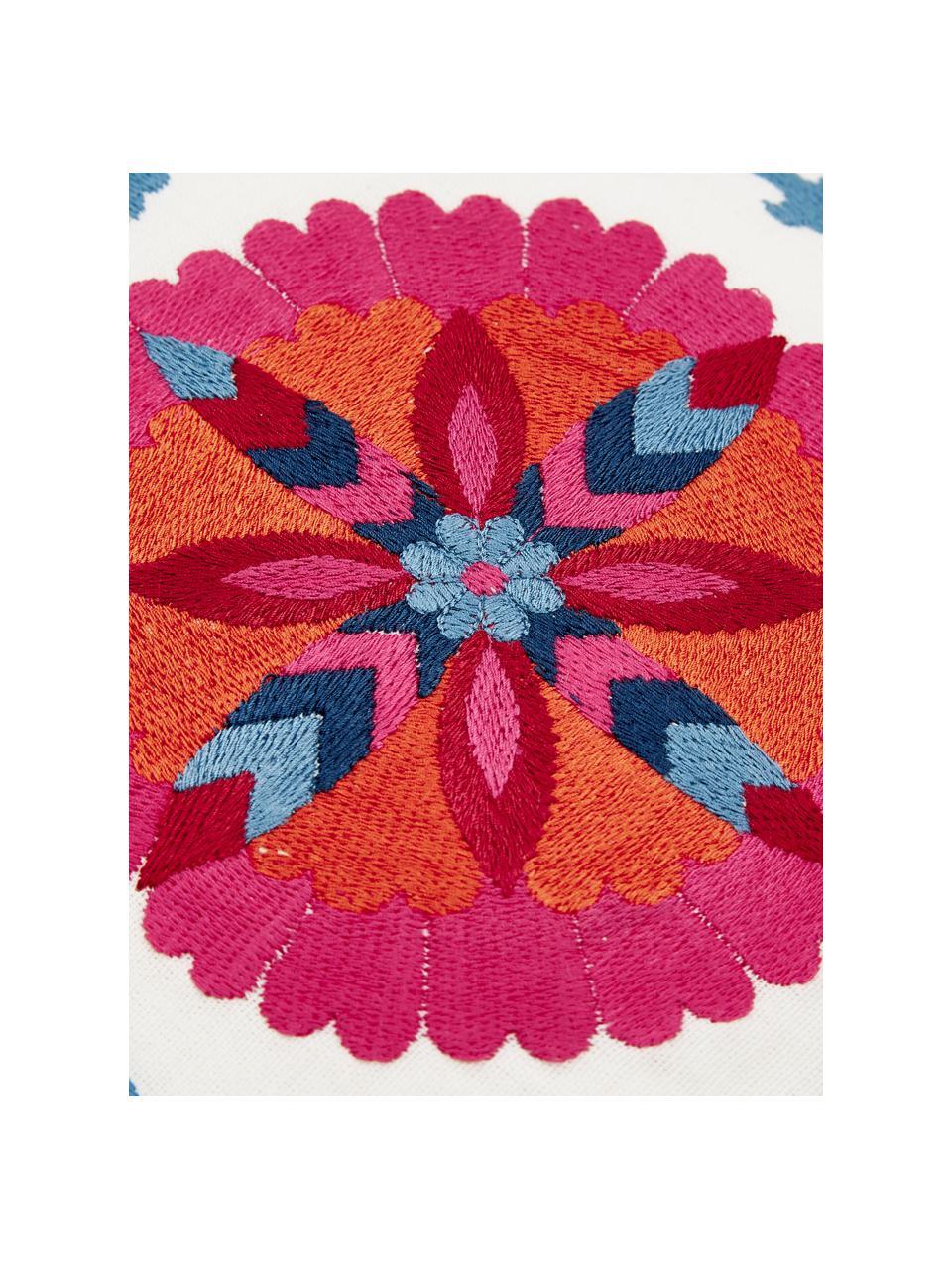 Bestickte Kissenhülle Tabula, 100% Baumwolle, Cremeweiß, Mehrfarbig, 30 x 50 cm