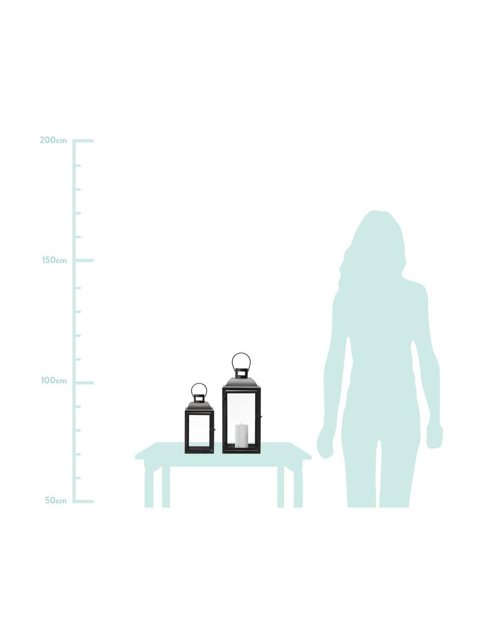 Komplet latarenek Polly, 2 elem., Stelaż: metal powlekany, Czarny, Komplet z różnymi rozmiarami