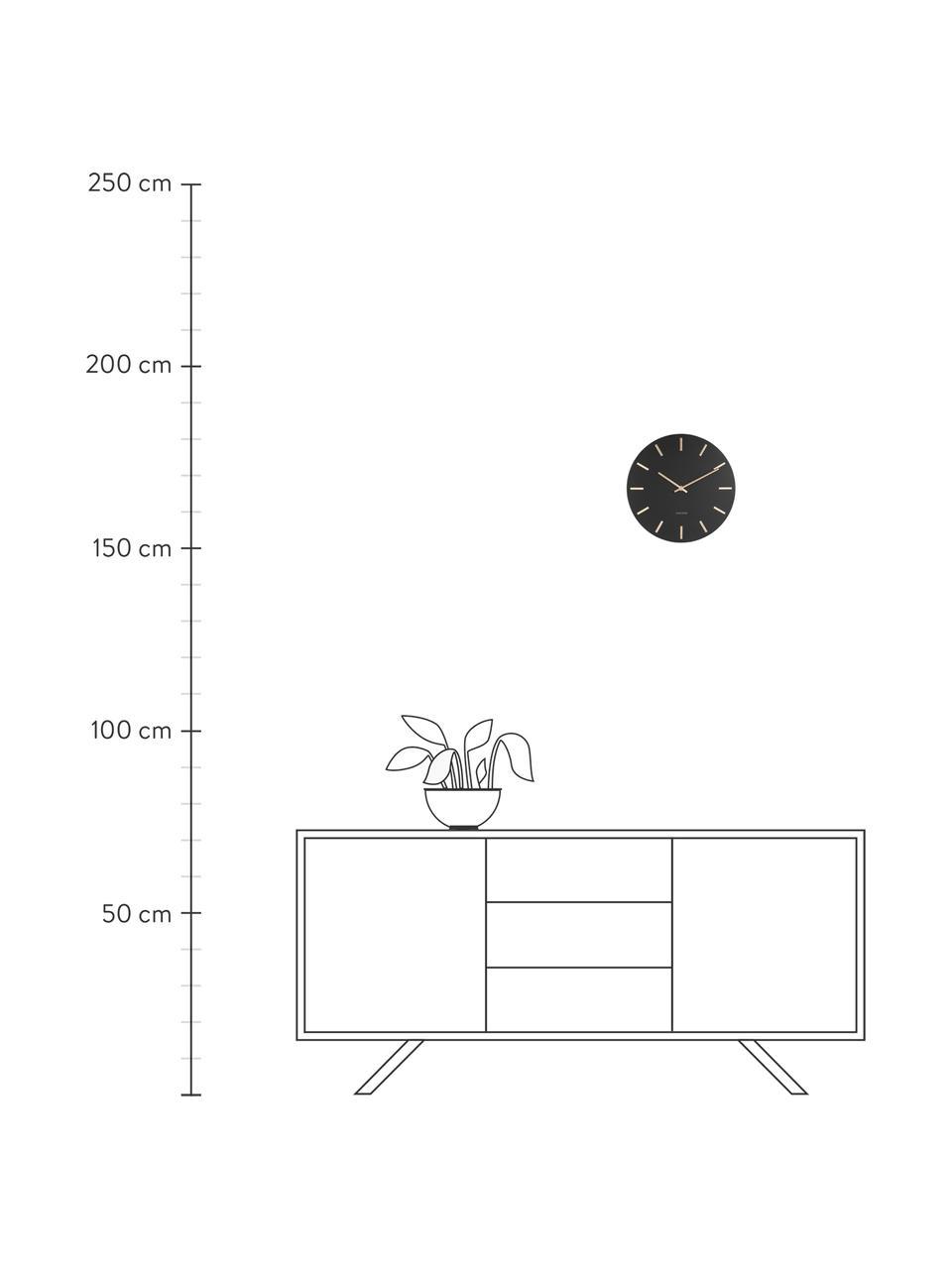 Wanduhr Charm, Stahl, lackiert, Schwarz, Ø 30 x T 4 cm