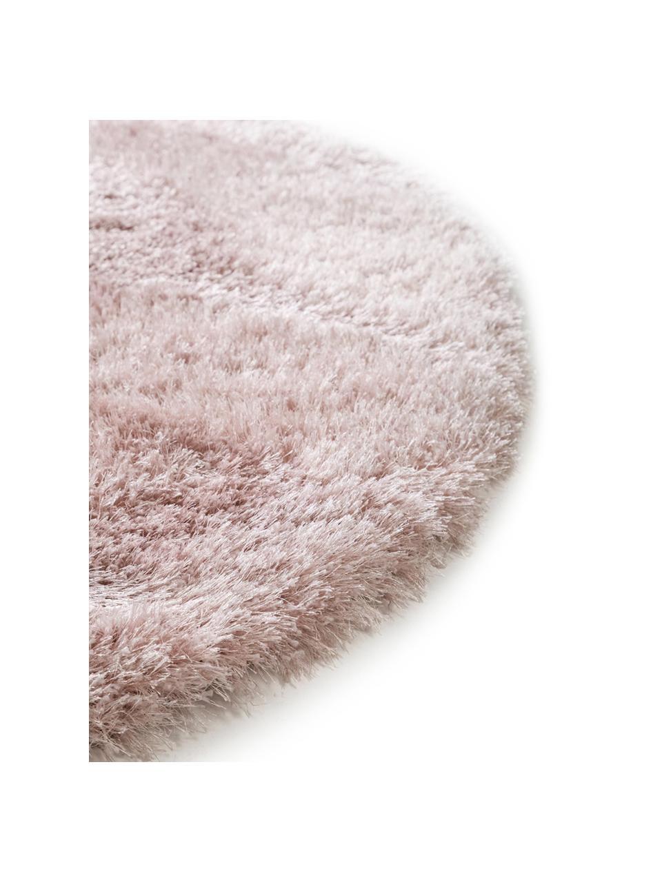Glänzender Hochflor-Teppich Lea in Rosa, rund, 50% Polyester, 50% Polypropylen, Rosa, Ø 200 cm (Größe L)