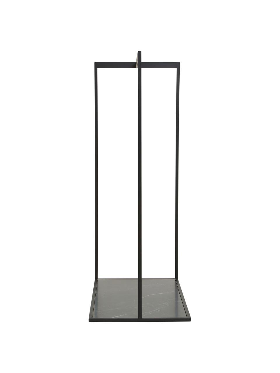 Ripiano appendiabiti effetto marmo Pacey, Struttura: metallo verniciato a polv, Mensola: pannello di fibra a media, Nero, Larg. 120 x Alt. 58 cm