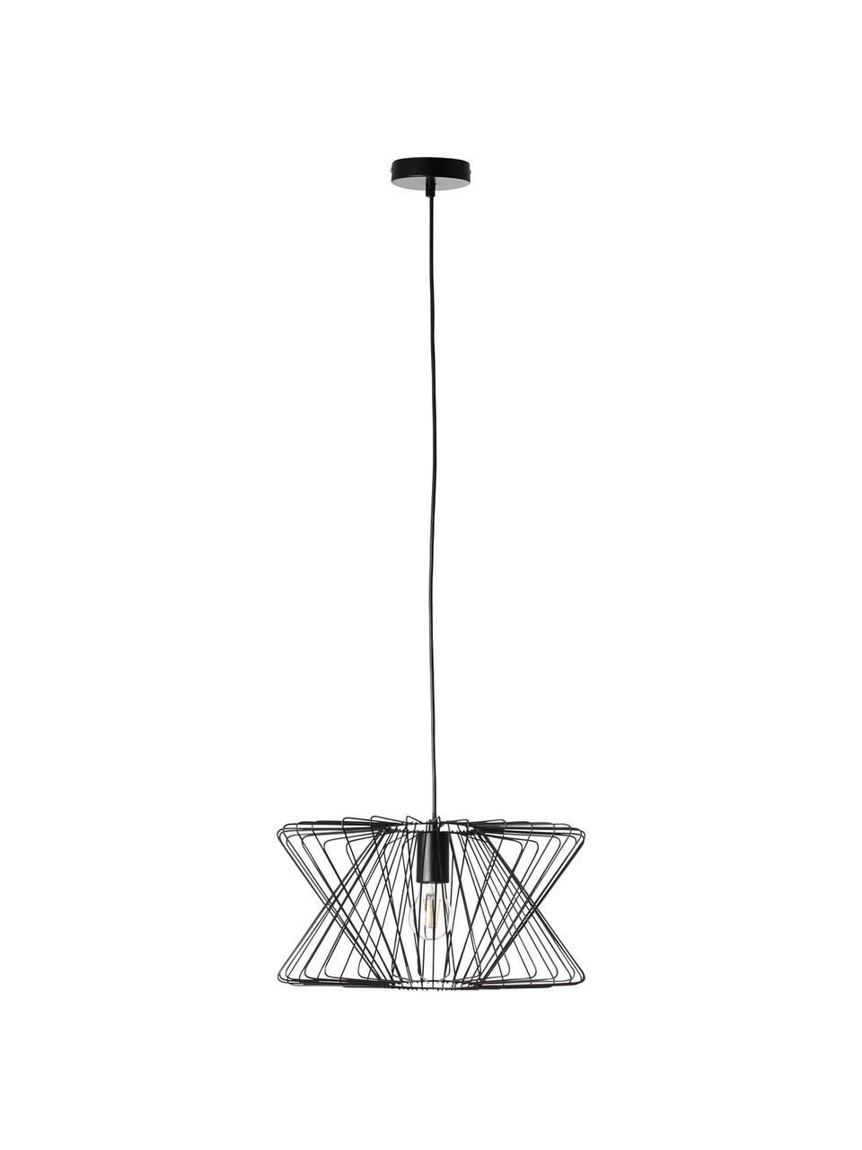 Lampa wisząca z metalu George Town, Czarny, Ø 40 x W 20 cm