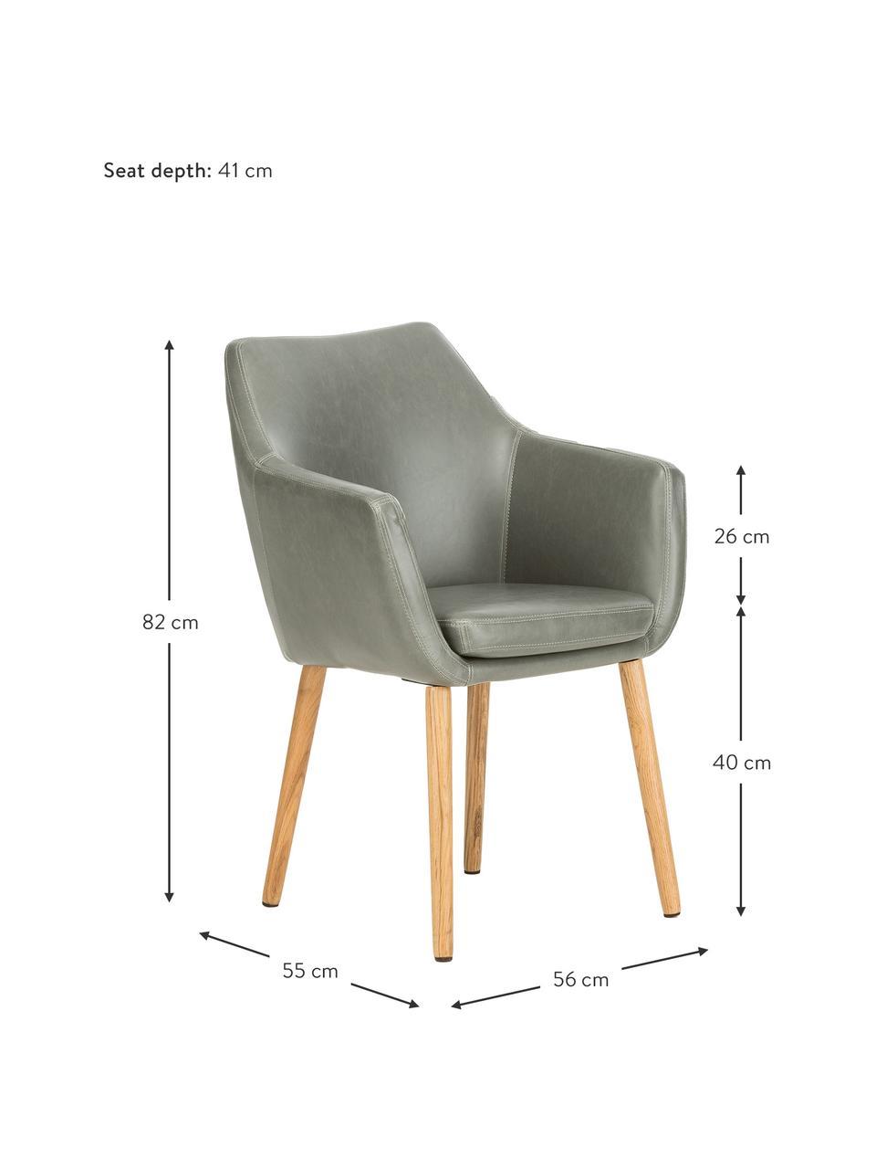 Chaise cuir synthétique pieds en bois Nora, Cuir synthétique gris clair, pieds chêne