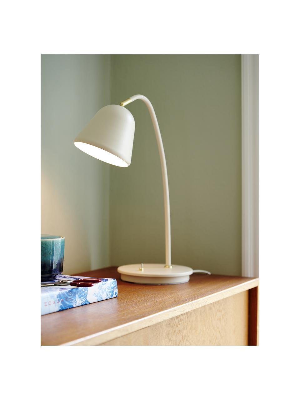 Lámpara de escritorio Fleur, Pantalla: metal recubierto, Cable: plástico, Beige, An 20 x Al 49 cm