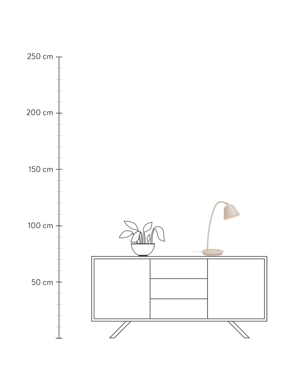 Schreibtischlampe Fleur in Beige, Lampenschirm: Metall, beschichtet, Lampenfuß: Metall, beschichtet, Dekor: Metall, Beige, 20 x 49 cm