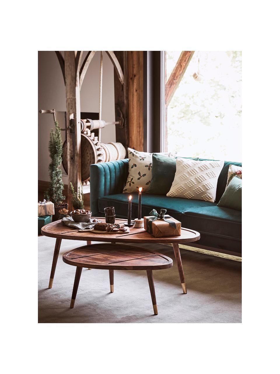 Samt-Sofa Dante (2-Sitzer) in Grün mit Holz-Füßen, Bezug: Polyestersamt, Gestell: Kautschukbaumholz, klarla, Samt Grün, B 174 x T 87 cm