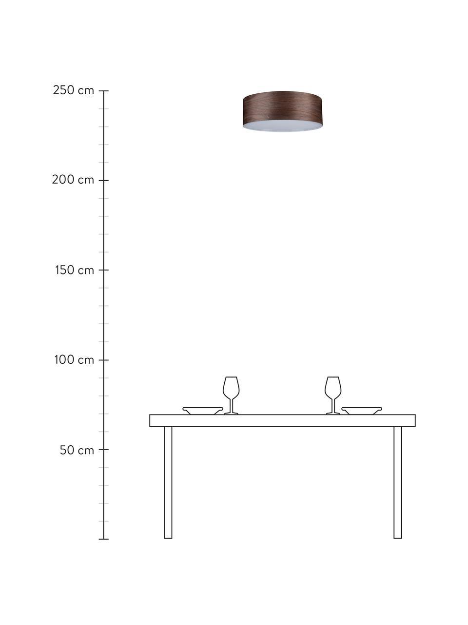 Plafoniera in legno Neordic, Paralume: legno, Disco diffusore: materiale sintetico, Marrone, Ø 45 x Alt. 15 cm