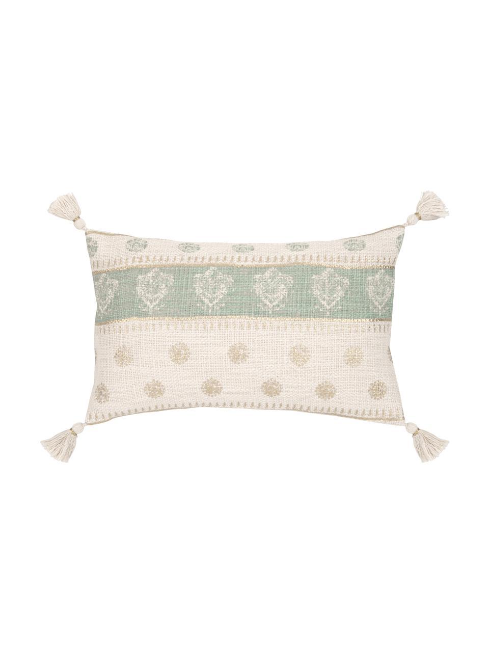 Poszewka na poduszkę z chwostami Jasmine, 100% bawełna, Beżowy, zielony miętowy, odcienie złotego, S 30 x D 50 cm