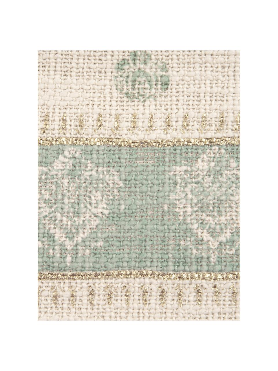 Kissenhülle Jasmine mit goldenen Details und Quasten, 100% Baumwolle, Beige, Mintgrün, Goldfarben, 30 x 50 cm