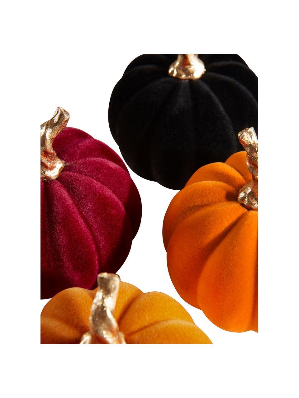Set 4 zucche decorative Mercy, Poliresina vellutata al tatto, Arancione, rosa, nero, Ø 9 x Alt. 9 cm
