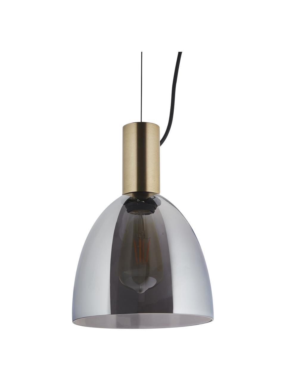 Mała lampa wisząca ze szkła dymionego Lebalio, Szary, Ø 20 cm