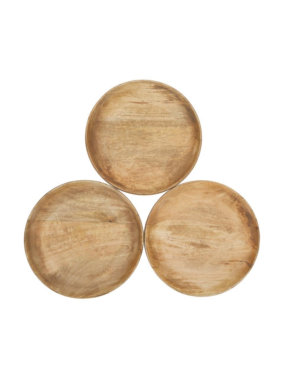 Rundes Deko-Tablett Forest aus Holz, Ø 30 cm, Mangoholz, Braun, Ø 30 cm