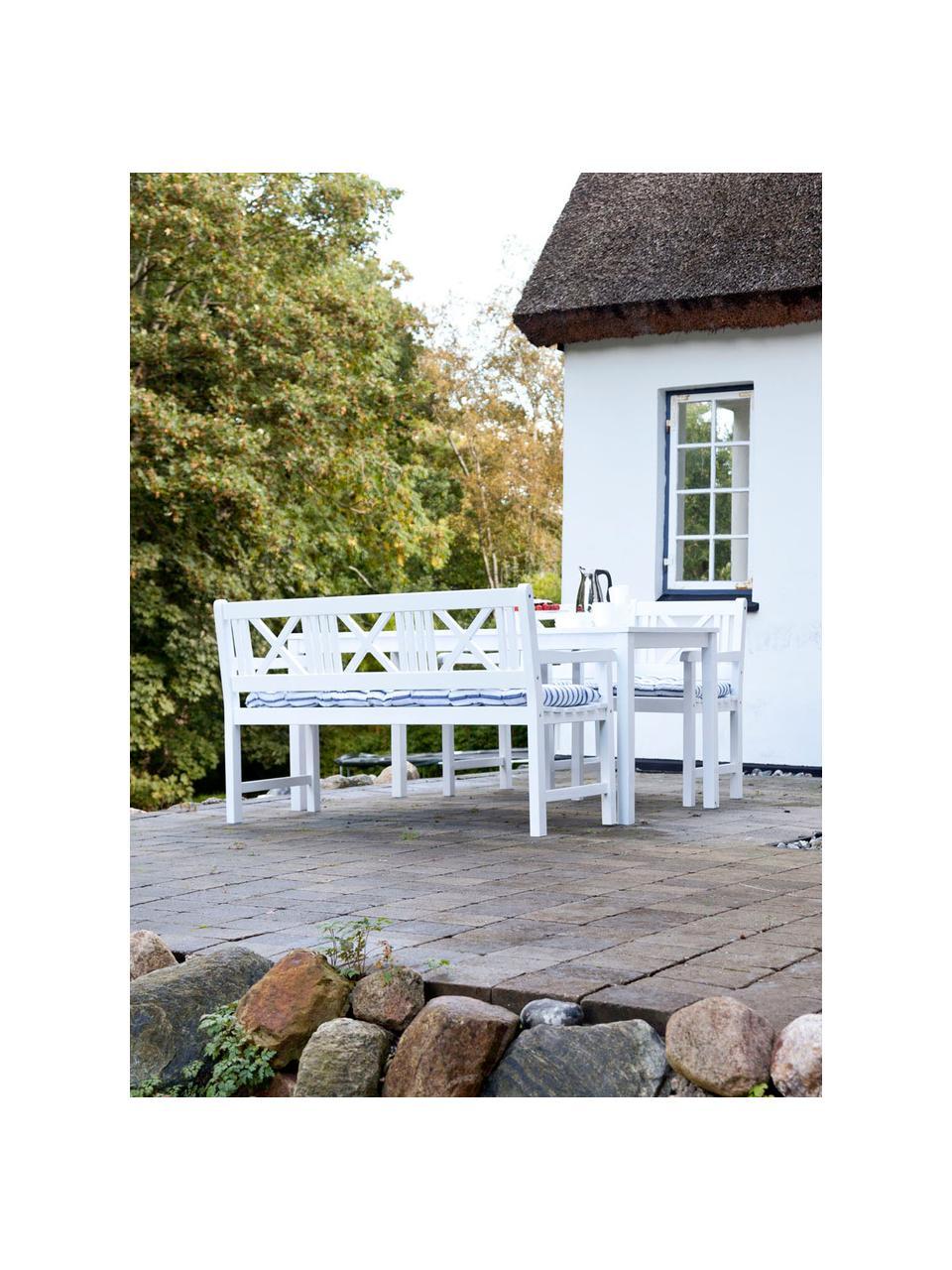 Ławka ogrodowa z drewna Rosenborg, Drewno tekowe, piaskowane, Biały, S 150 x W 89 cm