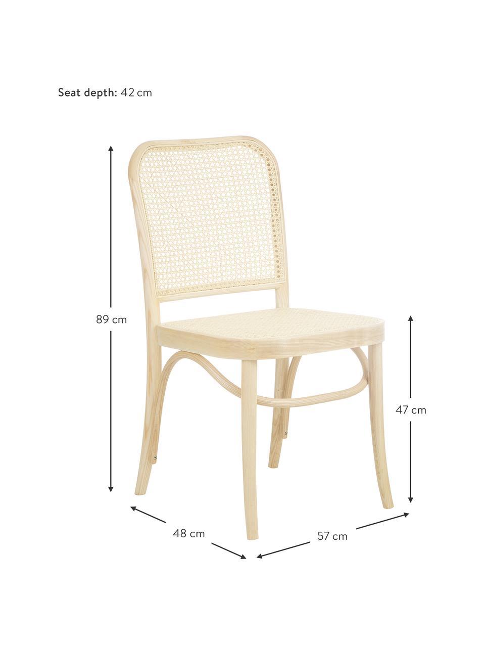 Sedia in legno con intreccio viennese Franz, Struttura: legno di faggio massiccio, Legno chiaro, Larg. 48 x Alt. 89 cm