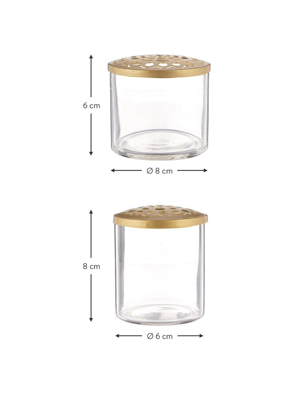 XS Vasen-Set Kastanje mit Metalldeckel, 2-tlg., Vase: Glas, Deckel: Edelstahl vermessingt, An, Vase: Transparent Deckel: Messing, Sondergrößen